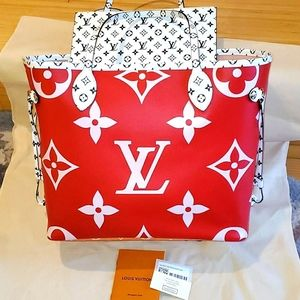 Louis Vuitton Red Pink Giant Monogram Neverfull M